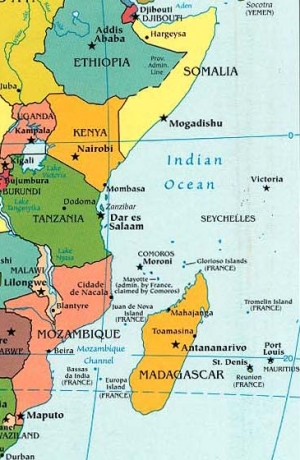 coastal east africa map