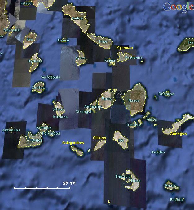 Cyclades - a Cruising Guide on the World Cruising and ... on piraeus greece map, meteora greece map, thera ancient mediterranean map, lesvos greece map, epidaurus greece map, samos island greece map, thera volcano eruption map, thera greece volcano map, santorini map, island of thera aegean sea map, byzantium greece map, athens greece map,