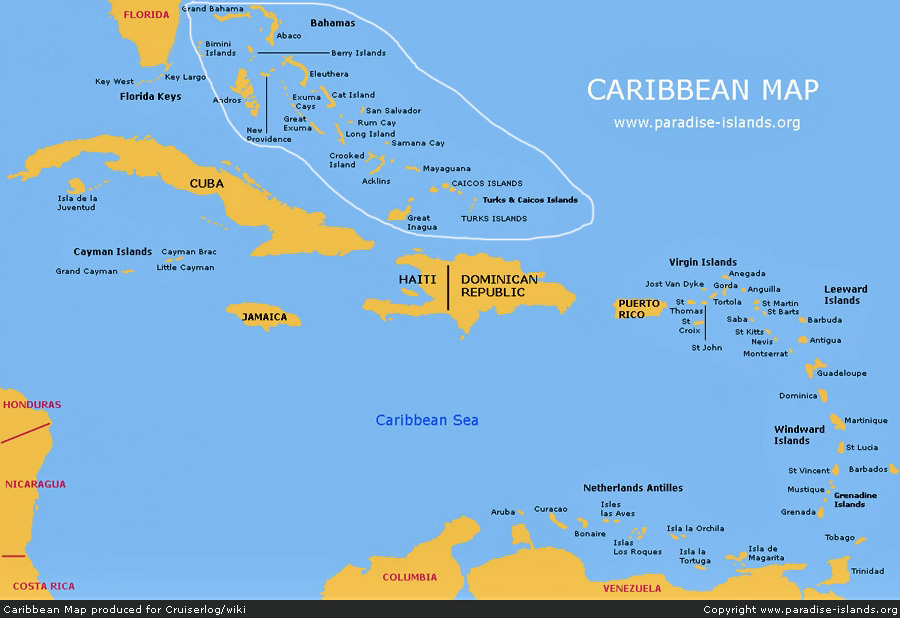 Caribbean A Cruising Guide On The World Cruising And Sailing Wiki - Map of the carribean