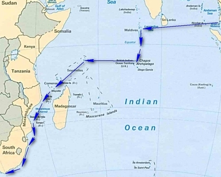 South east asia to south africa a cruising guide on the world indian ocean map5g gumiabroncs Choice Image