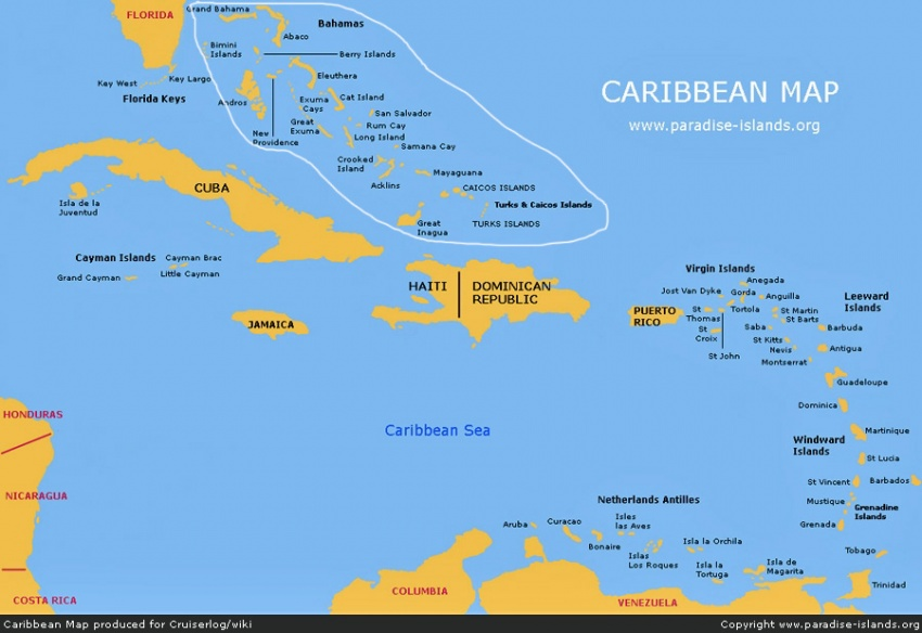 the caribbean cruising and sailing region islands map by kind