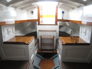 A Small And Simple Galley In Cruiser Racer The Port Sink Is Covered By Countertop Inset When Not Use 1 Burner Stove Cleverly Hidden